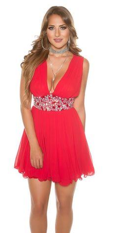 f5a25b7ef155 Abito cerimonia donna mini vestito corto damigella elegante festa Koucla  Rosso