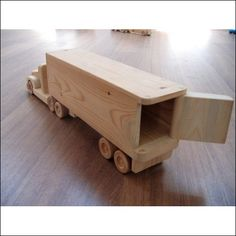 Jeffery the refrigerator wooden toy truck - a semi-trailer toy made of wood