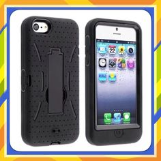 Diamond Armor Hybrid cover Case With Stand (black-black) For Iphone 5 5C 5S #UnbrandedGeneric
