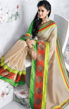 Picture of Glorious Cream Color Silk Party Wear Saree Online