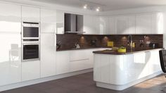 A fashionable and stylish lacquered high-gloss kitchen with clean lines and a modern handleless design.