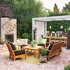 Multi-Purpose Patio  Brick pavers, a large outdoor fireplace with a hefty concrete surround, and a cozy seating area transformed this nothing-special patio into a stylish outdoor space. A simple gazebo attracts attention toward the dining area and a small outdoor kitchen adds function and convenience.