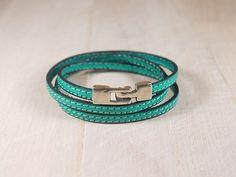 Bracelet en cuir aqua surpiqué - 3 tours de poignet - Bracelet cuir femme - fermoir argenté