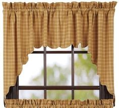 Create a warm welcoming atmosphere when you cover your windows in our primitive Amherst country swag curtains! They are made from a 100% cotton fabric with the most beautiful mustard gold color. You'll love it.