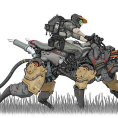 Wildlife Patrol #mech #robot #motorcycle #bostondynamics #wildlife #animal #conceptart #instaart #design #artwork #nomansnodead
