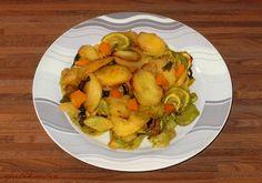 Πατάτες στο φούρνο με πιπεριές και κολοκύθια