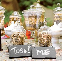 confetti - bird seed - Seriously great idea to keep the tradition but make it more environmentally responsible. Love!
