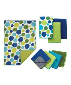 Take a look at this Blue Dot Bar Mop, Dishcloth & Drying Mat Set by Ritz on #zulily today! $14 !!