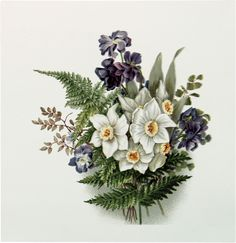 Vintage Lavender and White Bouquet Download! - The Graphics Fairy