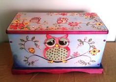 Owl Hope Chest/Toy Box Hand Crafted Using Pyrography and Color is Wood Staining Technique. This item is not painted so the colors will not peel or chip. 24X13X12 I think my next project will be refinishing a hope chest we already have for Kate's newly remade room! Of course, i will have to get our youngest son on board, the artist in the family, to get it right!
