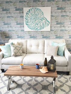 Nautilus shell decal as wall art on a canvas - beachwood peel and stick #NuWallpaper as a feature wall!