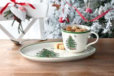 The Spode Christmas Tree Soup and Sandwich Tray is perfect for cocoa and cookies on a cold winter day. Christmas China, Spode Christmas Tree, Christmas Dishes, Whimsical Christmas, Christmas Tablescapes, Xmas, Christmas Stuff, Pasta Bowl Set, Soup Bowl Set