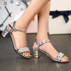Metal Colour Block Heel Sandals