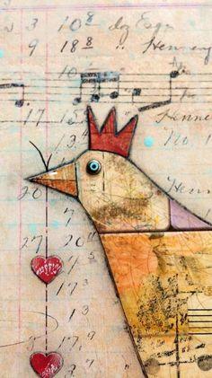 Original Mixed Media Chicken Collage by cheryldossey on Etsy