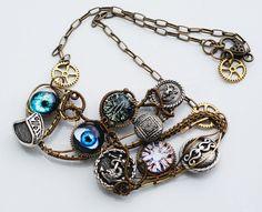 Evil Eyes Metal Buttons Wire Wrap Handicraft Necklace Statement Artisan Necklace #Handmade #Pendant