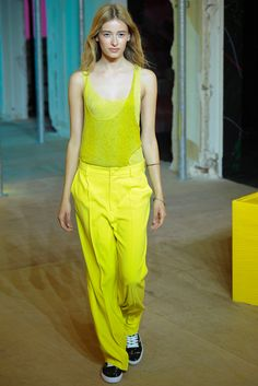 Zadig & Voltaire Spring 2015 RTW - Look 1 - you just made me fall in love with neon yellow. That is not fair.