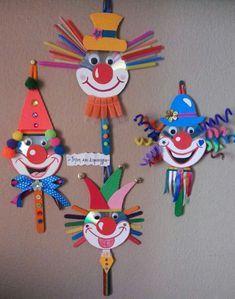 30 idéias para criar com crianças no carnaval - Basteln mit kindern - Kids Crafts, Clown Crafts, Circus Crafts, Creative Crafts, Preschool Crafts, Projects For Kids, Diy For Kids, Diy And Crafts, Arts And Crafts