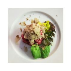 Veal tartare with shaved Alba white truffles from Piemonte (Piedmont). Beef steak tartare is one of my favourite meals.