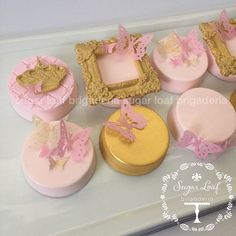 Pink and gold butterflies and crowns Oreos for a special birthday tea party…