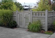 Lovely gray wash fence and gate - Lattice Top Fence Gates and Fencing Devonshire Landscapes Seattle, WA