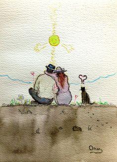 "watercolor...acuarela...30 x 22 cm. Saatchi Art Artist OSCAR ALVAREZ; Drawing, ""UN SOL PARA TODOS...IV"" #art"