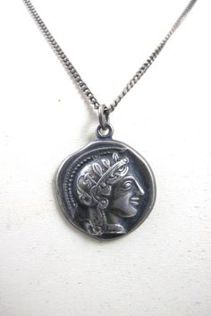 Antique Greek Coin Pendant Necklace Hallmarked XPYEAAEE Sterling Silver Alexander The Great, Antique Coin Jewelry