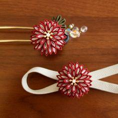 お揃いでお得♪ 薫るつまみ細工「月咲花」の簪&帯留セット|真紅|