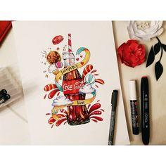 Ну вот и моя картинка. Напитки.  Думала, думала и поняла, что колу люблю всегда)) а результатом как то не до конца довольна, что то не так. Но не могу понять что) #lk_sketchflashmob #art_nika