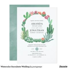 Shop Watercolor Succulents Wedding Invitation created by partypeeps. Succulent Wedding Invitations, Personalised Wedding Invitations, Simple Wedding Invitations, Watercolor Wedding Invitations, Floral Invitation, Wedding Invitation Design, Zazzle Invitations, Wedding Events, Wedding Day