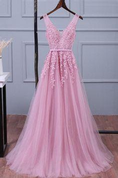 Charming Prom Dress, A Line Evening Dress, V