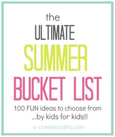 The Ultimate Summer Bucket List - by kids for kids! The Ultimate Summer Bucket List - by kids for kids! Craft Activities For Kids, Summer Activities, Projects For Kids, Indoor Activities, Family Activities, Nursery Activities, Family Crafts, Sensory Activities, Kid Crafts