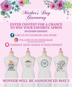 Head on over to Facebook to enter our Mother's Day Giveaway  #monogramonline #giveaway #apron #mothersday