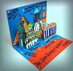 An idea to present the 7 Wonders of the Ancient World is a booklet pop-up where we can see them all together, as in a small theater s...