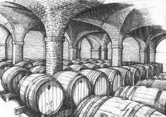 Pen and ink sketch done for a wine label. This is an underground cellar with a vaulted ceiling, full of wine barrels. Wood Burning Patterns, Wood Burning Art, Ink Illustrations, Digital Illustration, Underground Cellar, Cave Drawings, Scratchboard, Wine Label, Medieval
