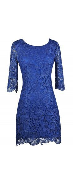 Lily Boutique Royal Blue Crochet Lace Three Quarter Sleeve Dress, $38 Royal Blue Lace Dress, Bright Blue Lace Sheath Dress, Blue Cocktail Dress, Blue Party Dress www.lilyboutique.com