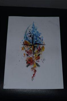 Compass bússola direção tattoo draw drawing watercolor watercolour aquarela