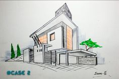 2 point perspective house case2 :architectural freehand - YouTube