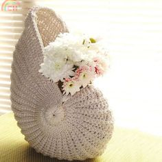 Nautilus shell crochet basket