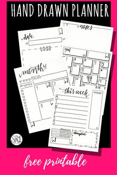 Free printable bullet journal, hand drawn bullet journal pages.Check out my gorgeous mid-year planner stack and grab a free printable bullet journal just added to my hand-drawn collection!A variety of funky, imperfect, hand-drawn bullet journals, tra Printable Planner Pages, Bullet Journal Printables, Journal Template, Planner Template, Planner Inserts, Free Planner Pages, Free Printable Calender, Monthly Planner Printable, Templates Printable Free
