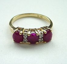 Vintage 14K Gold Ruby and Diamond Ring Signed - Size 6