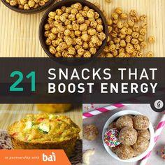 21 Healthy and Portable Energy-Boosting Snacks #energy #healthysnacks #snacks