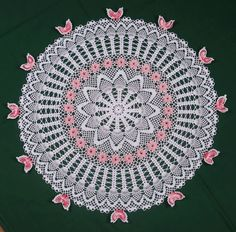 Pineapple Butterfly Rose Table Topper $5.00
