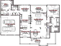 Country Style House Plan - 4 Beds 3 Baths 2456 Sq/Ft Plan #63-270 Floor Plan - Main Floor Plan - Houseplans.com