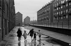 Children walking home on a council estate Newcastle upon Tyne 1972 Old Pictures, Old Photos, Newcastle Gateshead, Council Estate, Derelict Buildings, Uk History, Birmingham England, Salford, Slums