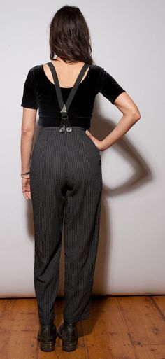 Stripped high waisted pants with braces