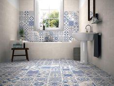 Awesome Mosaic Floor Bathroom Ideas Mosaic Floor Bathroom Skyros Delft Blue Wall And Floor Tile Wall Tiles From Tile Mountain Bathroom Floor Tiles, Wall And Floor Tiles, Wall Tiles, Tile Decals, Kitchen Floor, Tiles Uk, Delft Tiles, Concrete Bathroom, Flooring Tiles