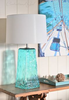 Recycled Blue Glass Lamps By Lamp Works