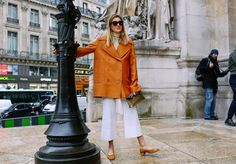 PFW | Phil Oh | Camille Charrière in a Trademark top, Nina Ricci coat, Maryam Nassir Zadeh shoes, and a Loewe bag