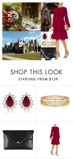 """Attending the annual christmas eve dinner at Balmoral with some members of the family"" by maryofscotland ❤ liked on Polyvore featuring Allurez, Tiffany & Co., Vivienne Westwood, Oscar de la Renta and Masquerade"