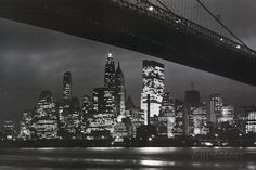 New York City (Brooklyn Bridge & Skyline at Night) Art Poster Print Poster at AllPosters.com
